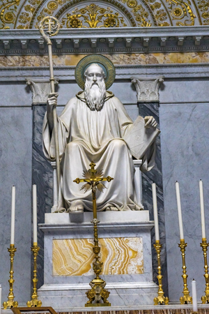 Paul Statue Altar Candles Papal Basilica Saint Paul Beyond Walls Cathedral Church Rome Italy. One of 4 Papal basilicas, established over Saint Paul's burial place in 324 by Emperor Constantine