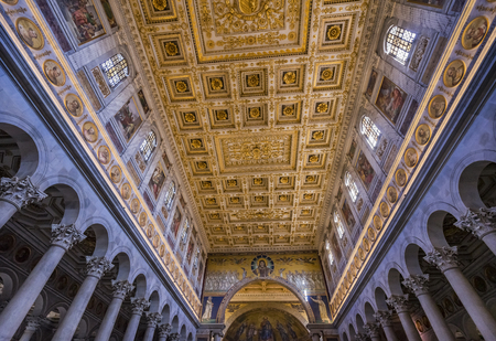Long Columns Nave Paul Tomb Papal Basilica Saint Paul Beyond Walls Cathedral Church Rome Italy. One of 4 Papal basilicas, established over Saint Paul's burial place in 324 by Emperor Constantine