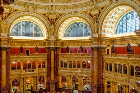 Salle de lecture Bâtiment Thomas Jefferson Bibliothèque du Congrès Washington DC. Ouvert en 1897. Bibliothèque nationale et bibliothèque de recherche primaire du gouvernement américain. Banque d'images
