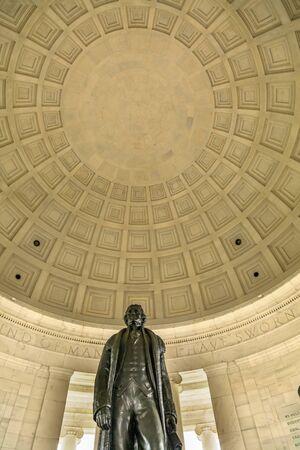 Bronze Jefferson Statue Rotunda Dome Jefferson Memorial Washington DC.  Statue by Rudolph Evans 1947.  Writer Declaration of Independence