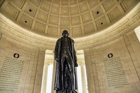 Bronze Jefferson Statue Rotunda Statements Jefferson Memorial Washington DC.  Statue by Rudolph Evans 1947.  Writer Declaration of Independence