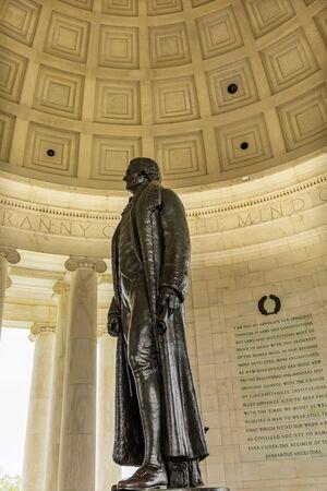 Bronze Jefferson Statue Jefferson Memorial Washington DC.  Statue by Rudolph Evans 1947.  Writer Declaration of Independence