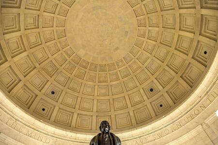 Bronze Jefferson Statue Rotunda Ceiling Jefferson Memorial Washington DC.  Statue by Rudolph Evans 1947.  Writer Declaration of Independence