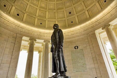 Bronze Jefferson Statue Colonnade Jefferson Memorial Washington DC.  Statue by Rudolph Evans 1947.  Writer Declaration of Independence