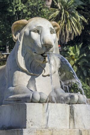 Lion Statue FountainPiazza del Popolo Peoples Piazza Rome Italy. Fountain built early 1800s