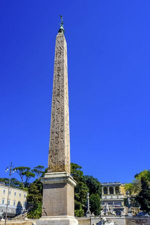 . Ancient Egyptian Obelisk Piazza del Popolo Peoples Piazza Rome Italy. Entrance Ancient Rome. Second Oldest Obelisk 10 BC. Back Pincio Hill Villa Borghese Gardens
