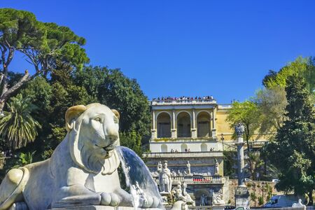 Lion Statue Fountain Goddess of Rome Statues Piazza del Popolo Peoples Piazza Rome Italy. Fountain built early 1800s Back Pincio Hill Villa Borghese Gardens