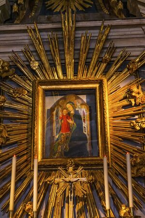 Saint Mary Painting Basilica Saint Maria in Trevio Rome Italy, Church built in 1500s and Mary Painting by 1500s.