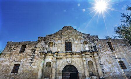 Sun Rays Alamo Mission San Antonio Texas. Site 1836 battle between Texas patriots, such as Travis, Bowie, and Crockett, killed by Mexican army and Santa Anna. Leading to rallying cry Remember the Alamo