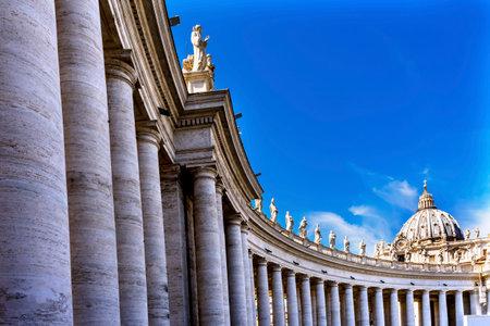 Saint Peter's Basilica Columns Colonnade Front Michelangelo Dome Statues Bernini Vatican Front Editorial