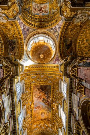 Ceiling Frescoes Dome Basilica Saint Ambrogio Carlo al Corso Basilica Church Rome Italy. Built in the 1600s and dedicated to Saints Ambrogio and Carlo al Corso. Sajtókép