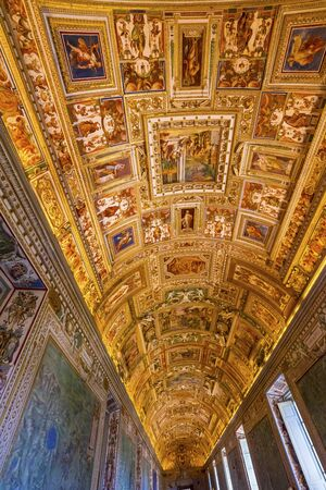 Vatican Museum Colorful Ceiling Map Room Frescoes Rome Italy