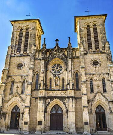 Doors Facade Outdoors Street Level San Fernando Cathedral San Antonio Texas. Built in the 1700s.