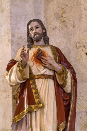 Jesus Christ Sacred Heart His Love Statue San Fernando Cathedral San Antonio Texas. Built in the 1700s.
