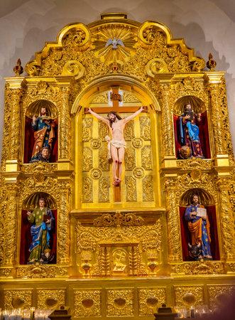 Golden Basilica Altar Jesus Christ Crucifixion Mark, Matthew, Luke and John, Gospel Writers San Fernando Cathedral San Antonio Texas. Built in the 1700s.