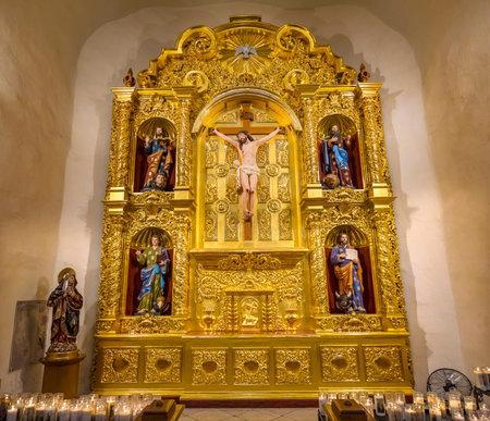 Golden Basilica Altar Candles Jesus Christ Crucifixion Mark, Matthew, Luke and John, Gospel Writers San Fernando Cathedral San Antonio Texas. Built in the 1700s.