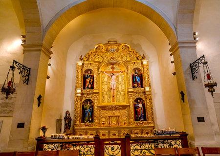 Golden Basilica Altar Candles Jesus Christ Crucifixion Mark Matthew, Luke and John Gospel Writers San Fernando Cathedral San Antonio Texas. Built in the 1700s.