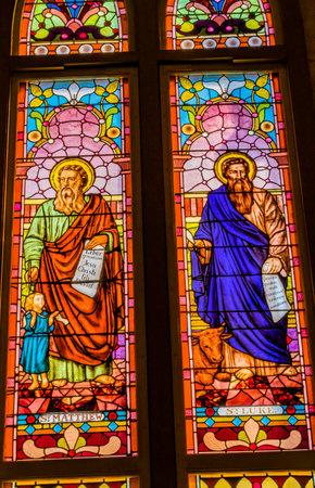 Saints Luke Matthew Gospel Writers Stained Glass San Fernando Cathedral San Antonio Texas. Built in the 1700s.