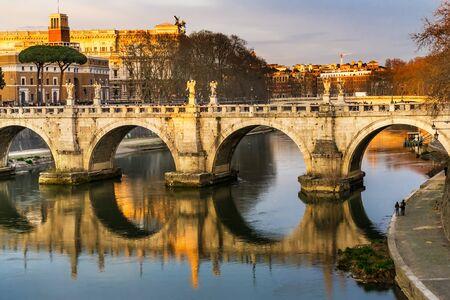Bernini Angels Ponte Bridge Saint Angelo Tiber River Reflection Rome Italy. Gian Lorenzo Bernini famous Italian sculptor in 1600s.