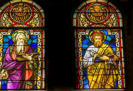 Saint Luke and Mark Gospel Writers Winged Ox Lion Stained Glass Saint Mary's Catholic Church San Antonio Texas. Built in 1857