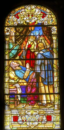 Death King Stained Glass Saint Louis Basilica Cathedral Oldest Cathedral United States New Oreleans Louisiana. Built 1718 Louis King of France Later Saint Editorial