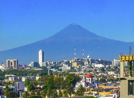 Overlook Red Church Buildings Churches Cityscape Volcano Mount Popocatepetl Puebla Mexico