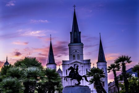 Sunset Andrew Jackson Statue Square Saint Louis Cathedral Oldest Church United States New Oreeans Louisiana Statue erected 1856 from same statue across from White House