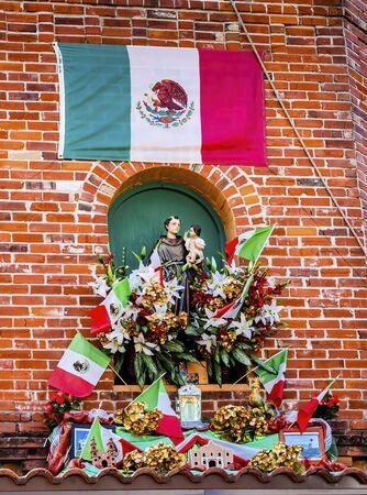 Mexican Market Square Flags Symbols Christmas Paper Decorations San Antonio Texas.