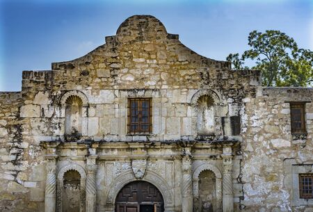 Alamo Mission San Antonio Texas. Site 1836 battle between Texas patriots and Mexican army. Rallying cry Remember the Alamo