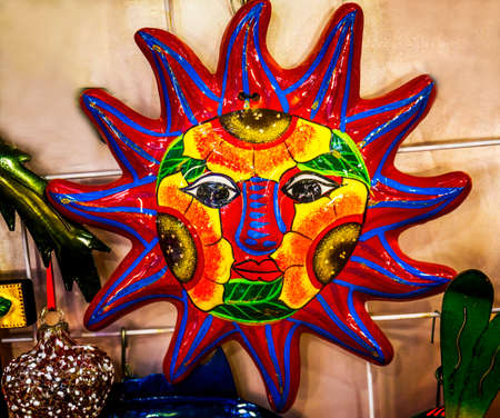 Colorful Mexican Ceramic Sun Handicrafts Los Cabos Cabo San Lucas Mexico Stock Photo