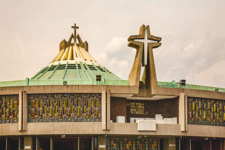 Modern Basilica where Pope Held Mass, Guadalupe Shrine, Mexico City, Mexico. This is the holiest spot in Mexico and Latin America for the Catholic Faithful.