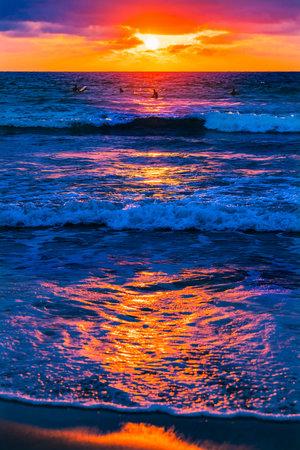 Surfers Watching Sunset La Jolla Shores Beach San Diego California