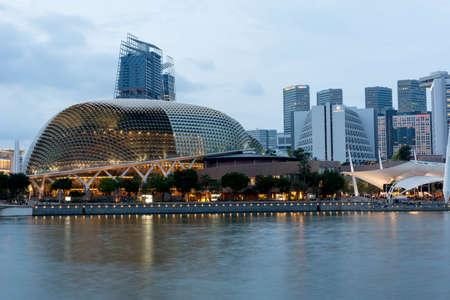 Singapore esplanade and singapore skyline of central business district. Long exposure photo, singapore, April 14 2018