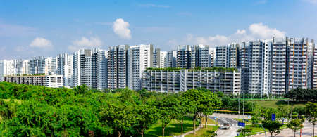 Panorama shot of Housing and Development Board or HDB Residential Buildings, Singapore, March 30, 2020