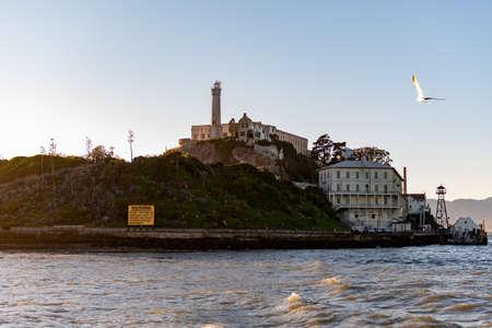 Lighthouse, barracks apartment and shipdock  at Alcatraz Island Prison, San Francisco California USA, March 30, 2020