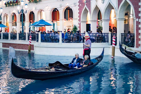 Inside The Venetian Resort Hotel & Casino Las Vegas with singing gondoliers, Las Vegas Nevada USA, March 30, 2020