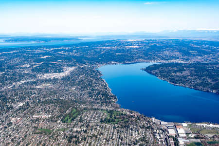 Aerial view of the Mercer Island, Homer Hadley Memorial Bridge and Lacey Murrow bridge Seattle USA