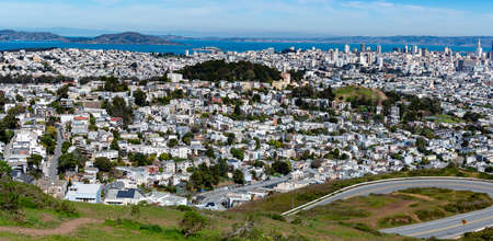 Panoramic shot of San Francisco Business District from Twin Peaks, California USA, March 30 2020
