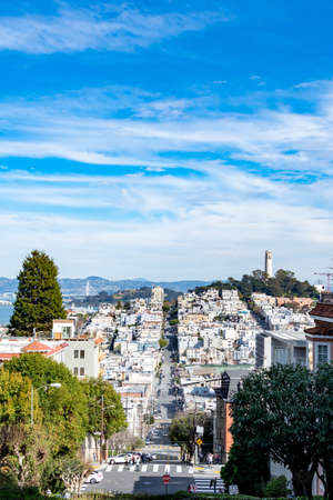 San Francisco, USA, March 30, 2020: Lombard Street, east west street in San Francisco, California famous for a steep, one block section with eight hairpin turns.