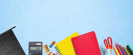 School supplies items. Bottom border on a soft light blue background. Back to school during concept with copy space.