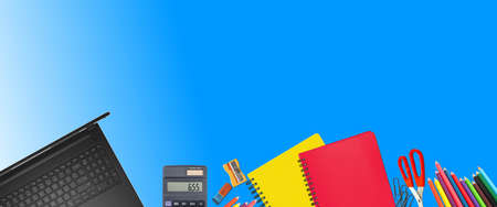 School supplies items. Bottom border on a blue background. Back to school during concept with copy space. Stock Photo