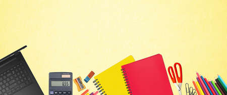 School supplies items. Bottom border on a soft yellow background. Back to school during concept with copy space.