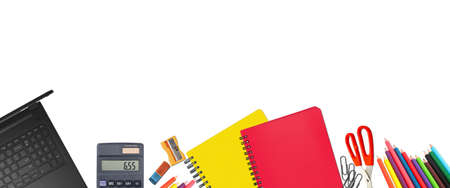School supplies items. Bottom border on a white background. Back to school during concept with copy space.