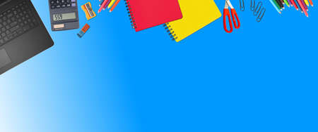 School supplies items. Bottom border on a blue background. Back to school during concept  with copy space.