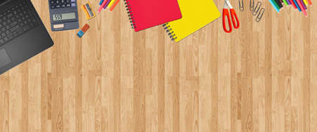 School supplies items. Bottom border on a wooden table background. Back to school during concept with copy space.