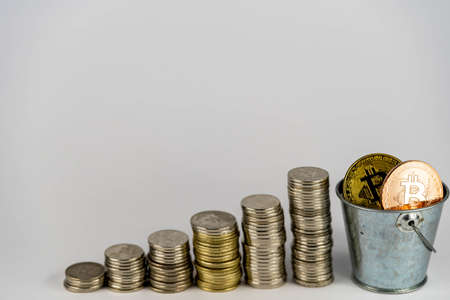 golden Bitcoin cryptocurrency and coin stack, Crypto is Digital Money within the blockchain network, is exchanged using technology and online internet exchange. Financial concept Stock Photo