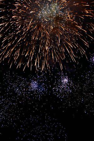 multi national: Night firework on the dark sky