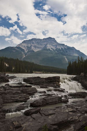 Athabasca water falls - Jasper National Park - Alberta - Canada Stock Photo