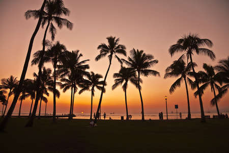 Sunset in Waikiki Hawaii Stock Photo