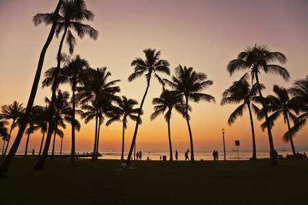 Sunset in Waikiki Hawaii Stock Photo